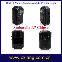 Chipset Ambarella A7 construit dans le GPS 140 degré IP67 Corps de police de caméra usés