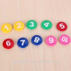 Красочные круглый пластмассовый управление канцелярские кнопки холодильник доски магнит с номером