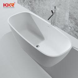 Vasca da bagno indipendente di marmo di pietra composita artificiale di superficie solida della stanza da bagno di Corian di rettangolo bianco di lusso moderno