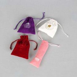 Gran Botella de vino personalizada Bolsa Bolsa de cordón de terciopelo rosa
