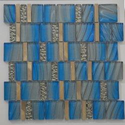 Carrelage mural Mix couleur bleu foncé en mosaïque de verre en cristal