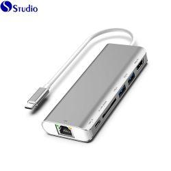 Concentrateur USB & sortie HDMI 4K C de type C USB Hub pour HDMI + avec adaptateur Ethernet USB 3.0 6en1 C Hub USB