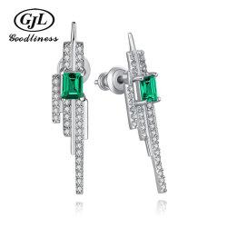 Neue silberne Form-Schmucksachen des Entwurfs-künstliche Smaragdohrring-925