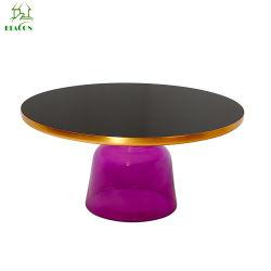 Simple Table à café en verre trempé rétro classique Vase en verre trempé Table ronde (couleur : violet, taille : grande)