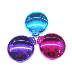 Spazzola di capelli compatta rotonda con lo specchio di trucco, spazzola di capelli a finestra Pocket piegante del mini bicromato di potassio UV