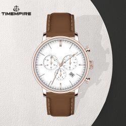 Commerce de gros logo personnalisé en cuir étanche Chrono Japon Quartz Watch (72019)
