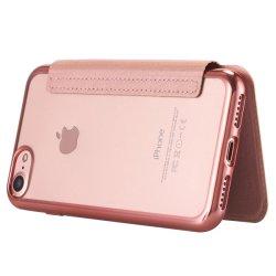 Ультра тонкий Lontect PU кожаный чехол Flip и слот для карт памяти и мягкая подошва из термопластичного полиуретана задняя крышка для Apple iPhone 7 - Роуз Gold
