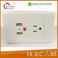Faites en République populaire de Chine à 3 broches de prises murales prises USB électrique