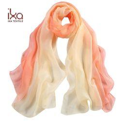 100% seda ver a través de la impresión digital verano Dama Chiffon larga bufanda