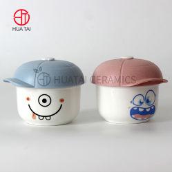 Cerámica creativa hueso nuevo China Popular de 4 pulgadas lindo recipiente con tapa de plástico