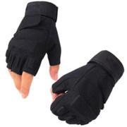Militar táctico negro Half-Finger Fingerless Guantes de protección de equitación caza ciclismo