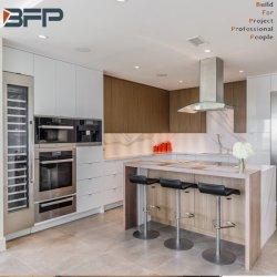 Personalizar la mezcla de melamina Flat Panel lacado de puertas armarios de cocina para apartamento