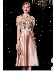 La Dentelle de l'automne 2020 Women's Fashion élégant Polyester mi-Manchon robe de soirée