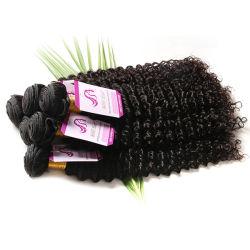 7A Yakiの自然で黒いねじれた直毛を編むまっすぐな人間の毛髪4PCS/Lotブラジルの軽いYakiの毛の拡張イタリアのYaki