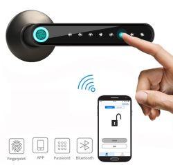 Aplicación Bluetooth Smart cerradura biométrica cerradura de puerta de huella digital de la empuñadura de puerta bloqueo sin llave