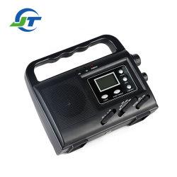 太陽Dyanmo力の緊急の懐中電燈の携帯用デジタル表示装置のラジオ