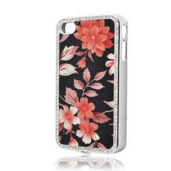 Téléphone mobile Electroplate diamant avec fleur de peau de cas pour l'iPhone4/4s
