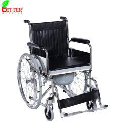 Plegable de acero cromado cómoda silla de ruedas con asiento blando