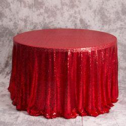 Het elegante Grote Vierkante Tafelkleed van de Polyester van de Doek van de Lijst van het Lovertje van de Cake van de Rok van de Bekleding van de Lijst Rozerode
