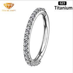 خاتم مقطع مفصلي بطول 1.0مم مجسم من نوع ASTM F136 من التيتانيوم بالجملة بالمصنع مع [ز] أزياء حلقة ثقب مجوهرات [تبك] 2519