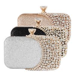 Frauen-Kupplungs-Fonds-Beutel-Kristallabend-Handtasche-Goldsilber-Schwarz-Brauthochzeits-Fonds-Minihandtaschen mit Metallgriff