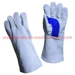 Doppeltes verstärkte Rindleder-aufgeteilte Schweiß-Lederhandschuhe