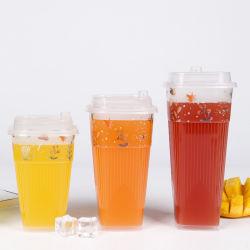 De aangepaste Meeneem Beschikbare Plastic Koppen van het Embleem voor de de Koude Drank/Milkshake van het Sap/van de Kola/Thee van de Melk van de Bel met Deksel