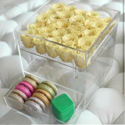 カスタマイズされた透過正方形の明確なふたのアクリルの高品質はローズの贅沢な花つぼのギフト用の箱の引出しのホーム結婚式の装飾25の穴を維持した