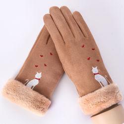Замшевая отделка гладка моды женщин сенсорный экран перчатки