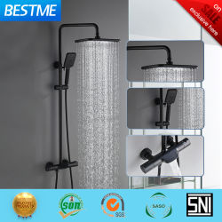 Bestme schwarze thermostatische 38 Temperatur-Sicherheits-Badezimmer-Mattdusche eingestellt (BF-635140BK)