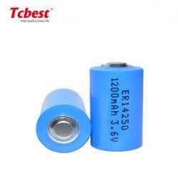 Nicht wiederaufladbares 1200mAh 1/2AA Lithium-Wegwerfbatterie Er14250 der Größen-Lisocl2 3.6V für Digitalkamera