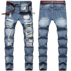 Otoño Otoño más populares de Hip Hop Denim pantalón de jeans para hombres