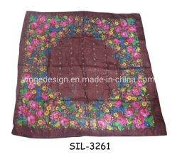 مستطيلة مصنع الصوف ملابس رأس فساتين shawl جميلة زهور طباعة السيدات كريم بلسم ذهبي من الأكريليك مربع وشاح الحجاب
