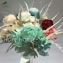 زهرة زهرة زهرة الورد ذات اللمسة الحقيقية الملونة زهرة صناعية حرير للزفاف والديكور المنزلى