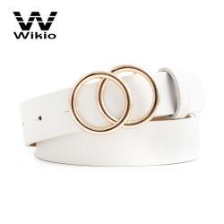 Hochwertige Mode Leder Doppel O Ring Schnalle Taille Gürtel Für Herren Luxus Leder Designer Doppel Runde Schnalle Gürtel