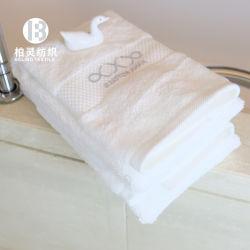 Insieme di viaggio cinque stelle ricamato del tovagliolo della stanza da bagno di pulizia del tovagliolo di mano del tovagliolo di fronte del bagno dell'albergo di lusso del cotone di bianco 100 di marchio