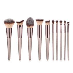il trucco 10PCS spazzola l'insieme di spazzola di trucco delle estetiche della polvere di Champagee Maquillaje