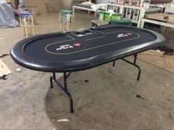 Impressão personalizada 84polegadas Mesa de pôquer com perna de ferro sem suporte para copos