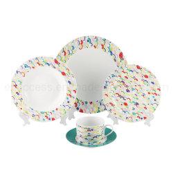 Normales weißes Porzellan-buntes Abziehbild-Essgeschirr-China-Fabrik-Partei-Lieferanten-Großverkauf-Tafelgeschirr