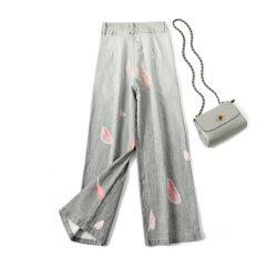 Comercio al por mayor impresas personalizadas de algodón de patrón de elastina amplia de pierna Demin Jean pantalones