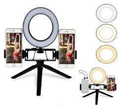 """Bague réglable de 6,3"""" a conduit de lumière, Selfie Anneau lumineux avec 2 support de téléphone et le trépied"""