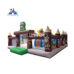 Parc d'Attractions gonflables Kids Club Château de couleur marron Thème Funcity Big bouncer