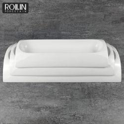 Catering Bodas Decoración de las placas de pan de la placa rectangular porcelana
