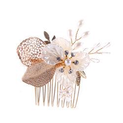 Materielle Goldblatt-Form Haircomb Kristallform BrautHeadwear