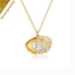 Оптовая торговля моды позолоченные украшения 925 серебристые украшения Shell образный подвесной ожерелье с кубической циркон