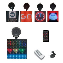 LED de cor total Emoji aluguer de telemóvel Bluetooth wireless da exibição de informações de edição de Foto Animação Smiley Emoji LED indicativo de carro