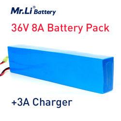 李氏の充電電池36V 10s4p 8ahの高容量500W 18650のリチウム電池の電気自転車42V 3Aの充電器のためのPVCケースが付いている電気バイク電池