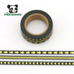 Schwarzes Goldfolie der Farben-5mm dünnes anhaftendes Washi selbsthaftendes Kreppband