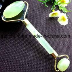 Gezicht van de Rol van de Jade van het Hulpmiddel van de Massage van de Schoonheid van het Embleem van de douane verdunt het Natuurlijke GezichtsMassager