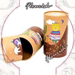 かわいく豪華なアートペーパーの円形の管の円柱段ボール紙の茶コーヒーギフト袋ボックス